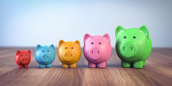 3d bunte Sparschweine aus knetmasse zeigen das wachstum der ersparnisse