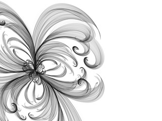 floral style smoke monochrome line ornament background, flower frame abstract
