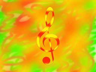 Red-and-yellow treble clef on the bright color background