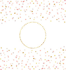 Metallic Foil Dots and Hearts Confetti and Gold Wreath Vector Set