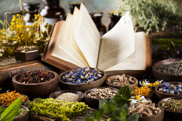 Book and Herbal medicine on wooden table background