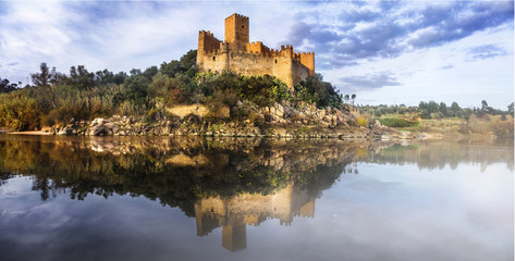 Almourol castle - reflection of history. medieval castle of Templars, Portugal