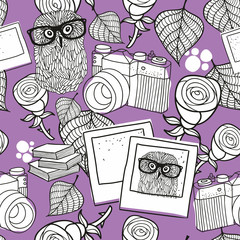Seamless pattern for coloring with smart owls and old camera on the purple background.