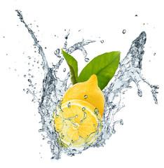 Lemon, leaves and water splash