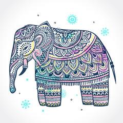Vintage Indian elephant with tribal ornaments. Mandala greeting