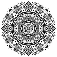 Beautiful filigree Indian floral ornament. Ethnic Mandala. Henna