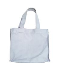 resusable gray polyester bag on white background