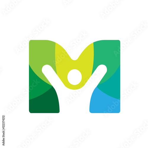 quotvector green letter m people logoquot stock photo and