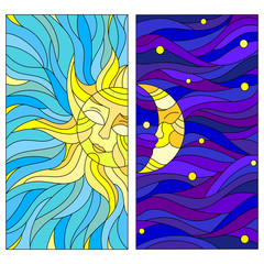 A set of stained-glass illustrations with the sun and the moon in the sky