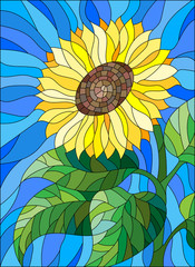 Illustration in stained glass style flower sunflower on a blue background