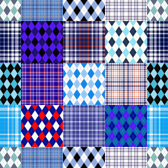 Seamless plaid and argyle patchwork pattern in nautical palette of blue, white and red. Collage quilt check print for bedding sets, throws, mats, rugs, mural decor.