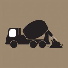 Single Black Cement Mixer Trucks Vector Illustration