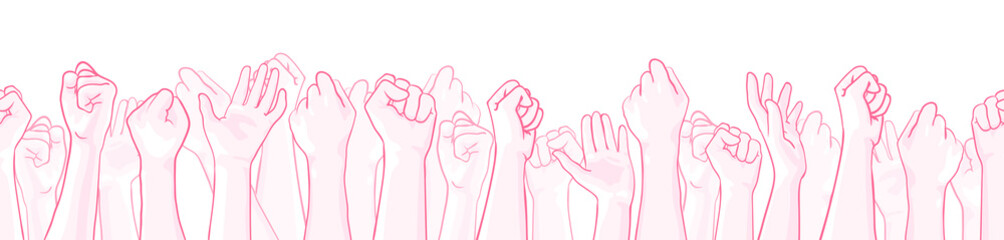 Pink extra wide seamless border with raised hands of many people, support symbol. Vector hand drawn illustration, isolated on white. Design element for October, National Breast Cancer Awareness Month