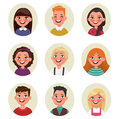 Set avatars boys and girls. Vector illustration