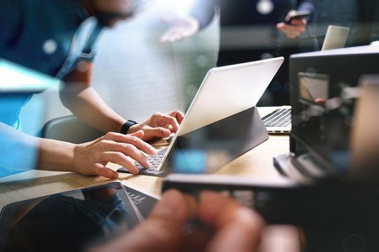 StartUp Programming Team. Website designer working digital table