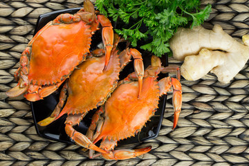 Steamed crabs with spices. Maryland blue crabs. Hot steamed blue crabs with ginger. Crab festival.