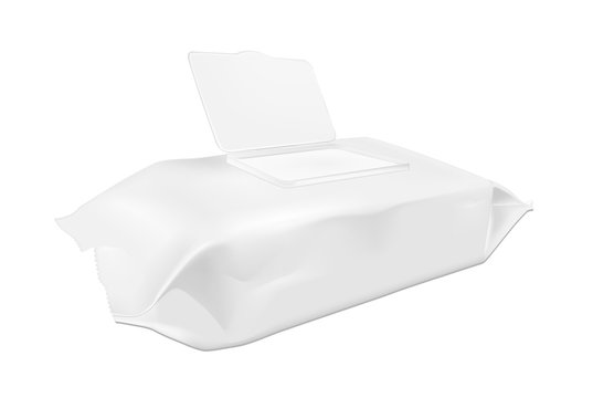 White wet wipes package with open flap