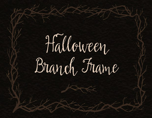 Spooky branch frame. Halloween hand-drawn decoration. Vector illustration.