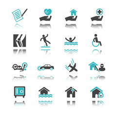 insurance icons with reflection