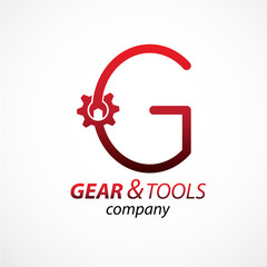 Abstract letter G logo Gear and wrench industrial service logo template icon vector design,Corporate logotype for production or service and maintenance business. Network computers application.