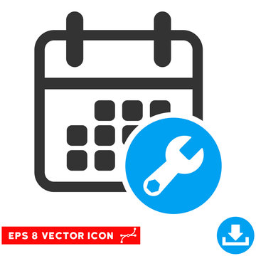 Blue And Gray Calendar Setup EPS vector pictograph. Illustration style is flat iconic bicolor symbol on a white background.