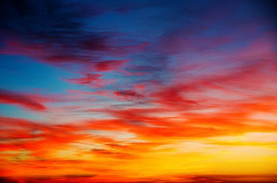 Vivid sky illuminated by the sunset