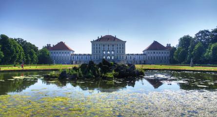Landscape of Nymphenburg, view from pond, Munich