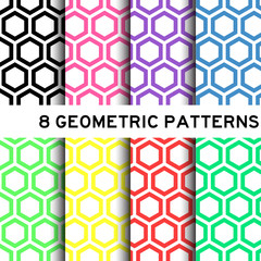 Geometric pastel colorful hexagon background pattern