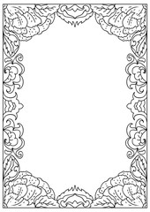 Decorative abstract square a4 format coloring page frame isolated on white