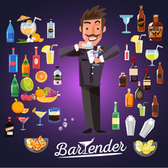 smart bartender mixing cocktail with alcoholic cocktail set. cha