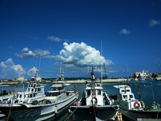 Fishing boats and blue sky
