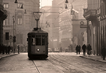 In de dag Milan Historical tram in Milan old town, Italy