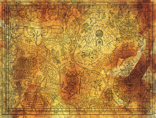 Antique Maya or pirate map on old paper background