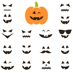 Set of faces for Halloween pumpkin
