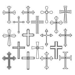 Christian cross icons set on white background