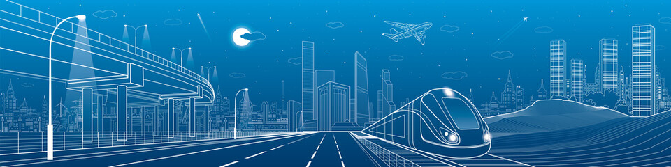 Automotive flyover, architecture and infrastructure panorama, transportation overpass, train move on the railway, business center, night city, towers and skyscrapers, urban scene, vector design art