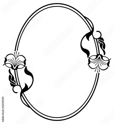 Silhouette Flower Frame Simple Black And White With Abstract FlowersVector Clip Art