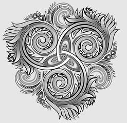 Illustration of Celtic disk ornament with triple spiral symbol, vector image.