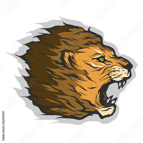 Roaring lion head.