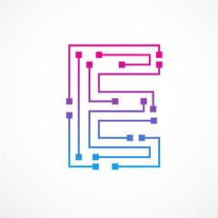 Abstract letter E logo design template,technology,electronics,digital,dot connection cross vector logo icon logotype