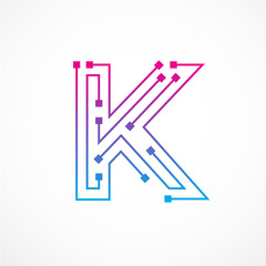 Abstract letter K logo design template,technology,electronics,digital,dot connection cross vector logo icon logotype