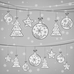 Christmas ornament decoration on grey