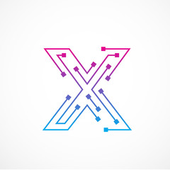 Abstract letter X logo design template,technology,electronics,digital,dot connection cross vector logo icon logotype