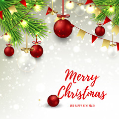 Christmas banner with red and glass balls. Happy New Year background with snow and color garlands. Vector illustration with fir branches and shining lamps for xmas design.