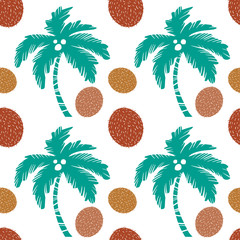 Seamless pattern. Palm trees, coconuts