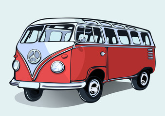 Hippie vintage bus, retro car, hand-drawing. Red cartoon bus with shadow. Isolated vector illustration