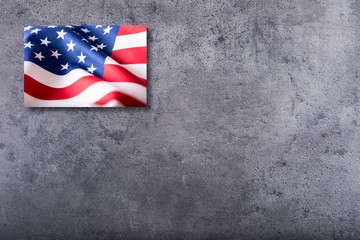 USA flag. American flag on concrete background.