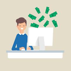 Earnings in the Internet, online earning vector illustration