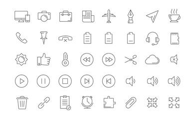 Set Vector Flat Line Icons Mobile Design