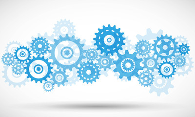 Blue transparent gears Vector